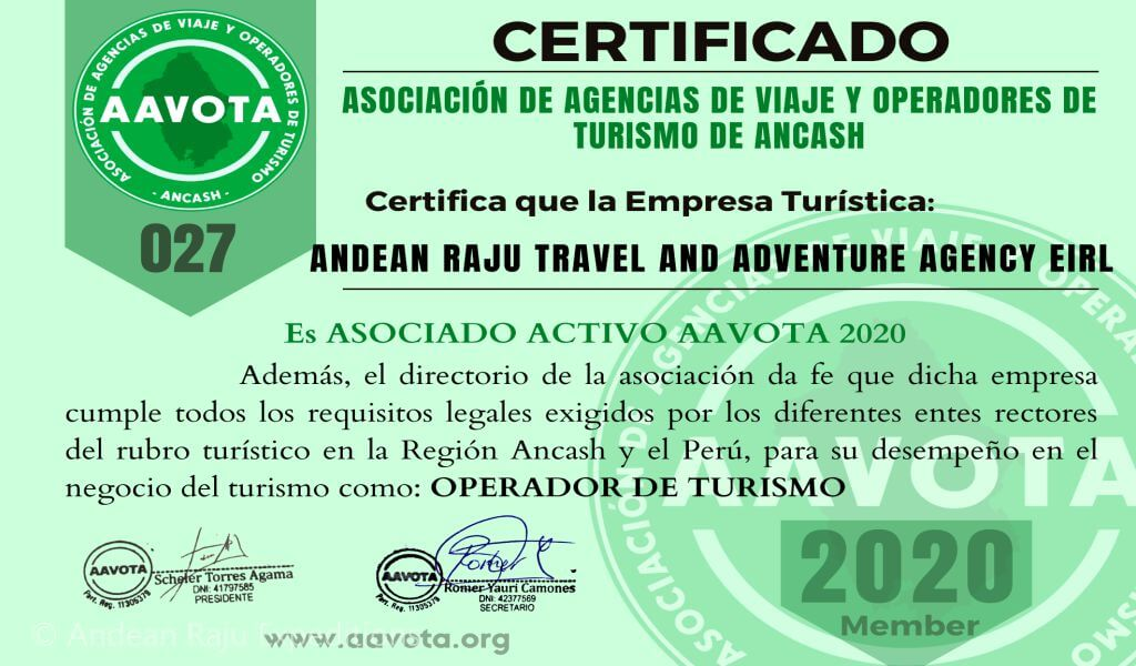 Andean Raju Expeditions es miembro AAVOTA