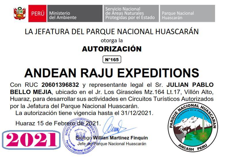 Autorización Parque Nacional Huascarán 2021