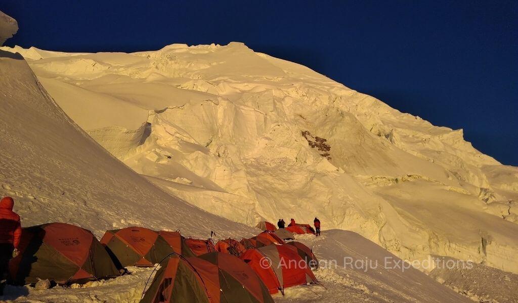 Campamento en Campo Alto II del Nevado Huascarán